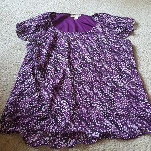 Dressbarn Abstract Print Ruffle Sleeve Tiered Top